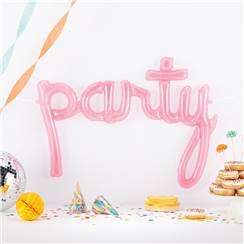 Party Clear Pink Script Phrase Balloon - 44""