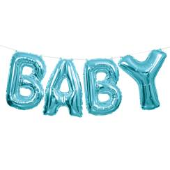 "Baby Blue Phrase Balloon Bunting - 14"" Foil"