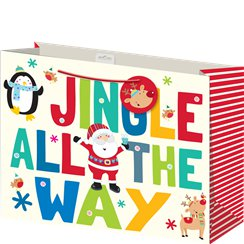"Large ""Jingle All The Way"" Christmas Gift Bag - 33cm"
