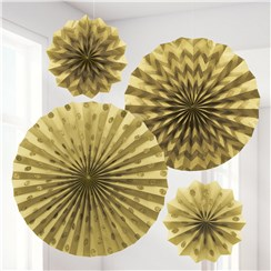 Gold  Paper Glitter Fan Decorations