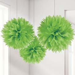 Lime Green Pom Pom Decorations - 40cm