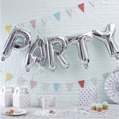"Pick & Mix Party Silver Balloon Bunting - 12"" Foil"